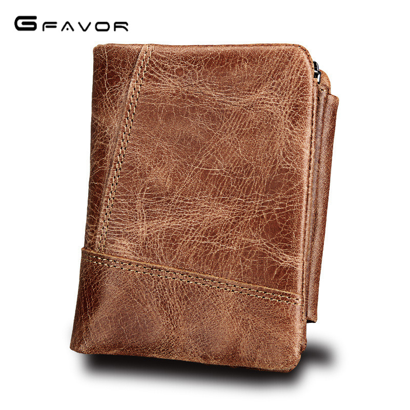 G-FAVOR Trifold Design Card Holder Genuine Leather Wallet Male Coin Purse Small Portomonee PORTFOLIO Clamp for Money Bag Perse