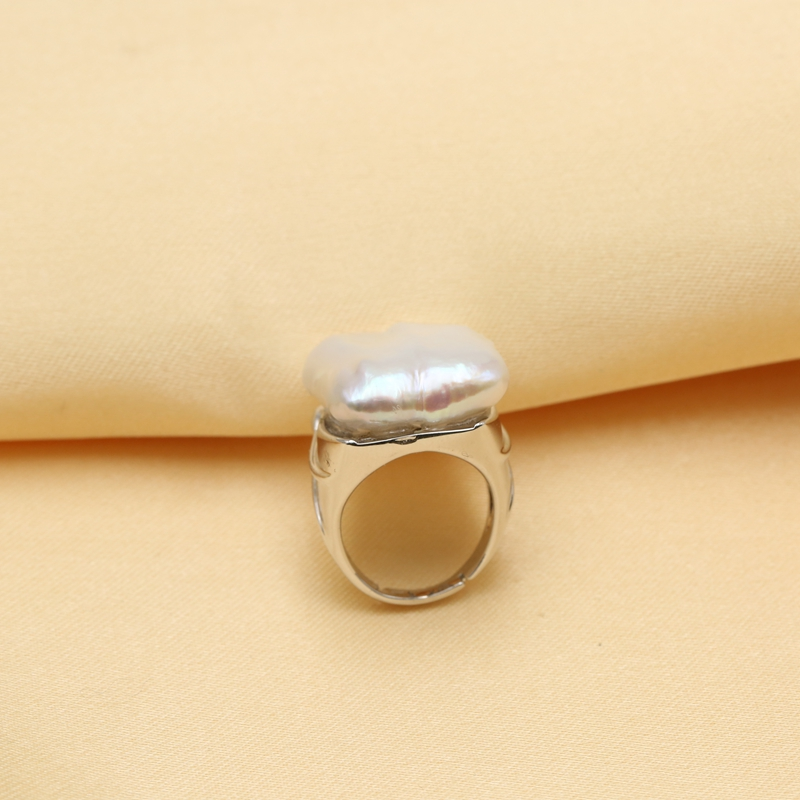 BaroqueOnly 100% anneaux de perles baroques d'eau douce naturelles 925 bague en argent Sterling bijoux pour femmes cadeaux 22-25mm - 2