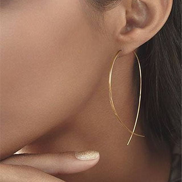 ES143 Fish Shaped Stud Earrings Simplicity Handmade Copper Wire Earring for Women Brincos de gota Feminino 2017 Geometric NEW