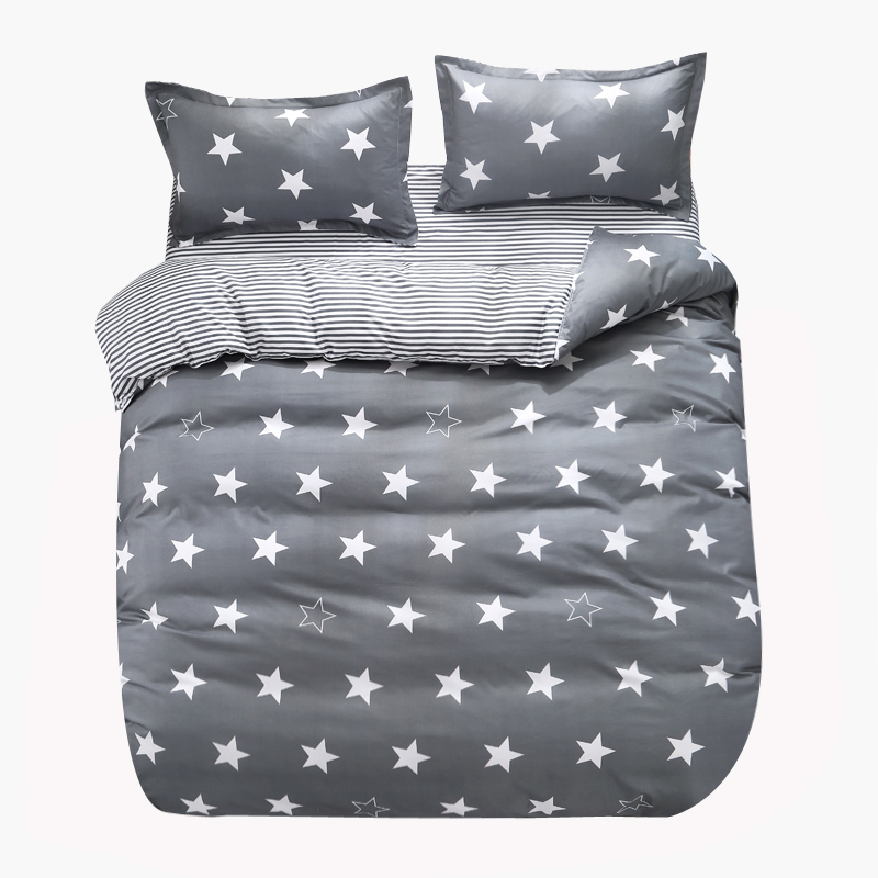 Custom Soft Bedding Sets USA Russia Europe King Queen Size Simple Duvet Cover Set Sheet Set Single <font><b>140*200</b></font> bed linen Gray star image