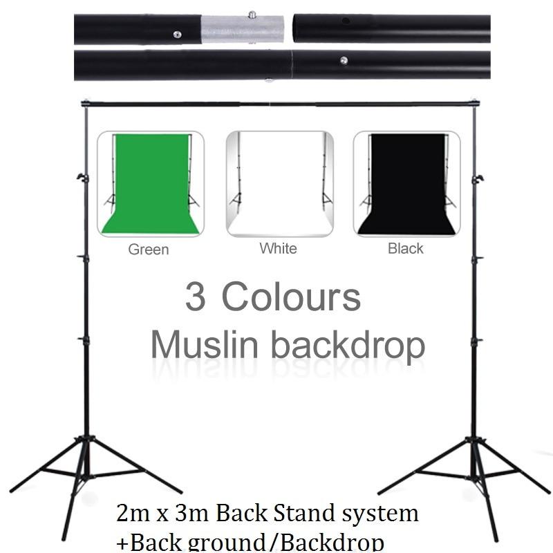 Lightdow 3M X 2M Background Holder Adjustable Muslin Background Backdrop Support System Stand Kit +Cutton Background Backdrop