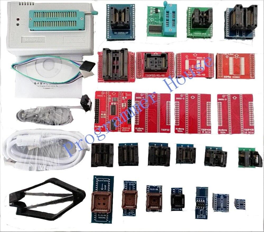 100% nouveau V8.33 TL866CS TL866A TL866II Plus programmeur universel minipro TL866 nand flash AVR PIC Bios USB programmeur + 27 adaptateurs