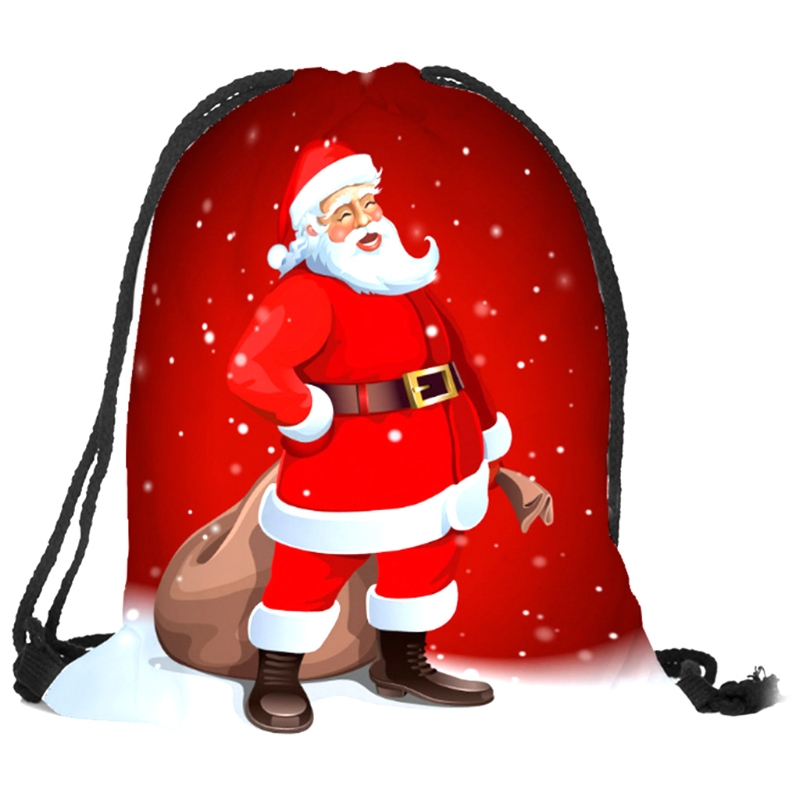 THINKTHENDO Cute Drawstring Bag Christmas Elk Gift Shopping Handbags Travel Backpack Decorations 11 Colors Casual New ...