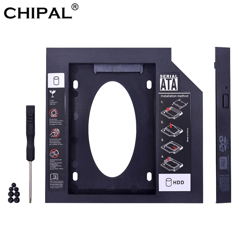 Chipal Universal 2nd HDD Caddy 9.5 Mm SATA 3.0 untuk 2.5 ''9 Mm 7 Mm SSD Hard Disk Drive case Kandang untuk Laptop CD DVD ROM Optibay