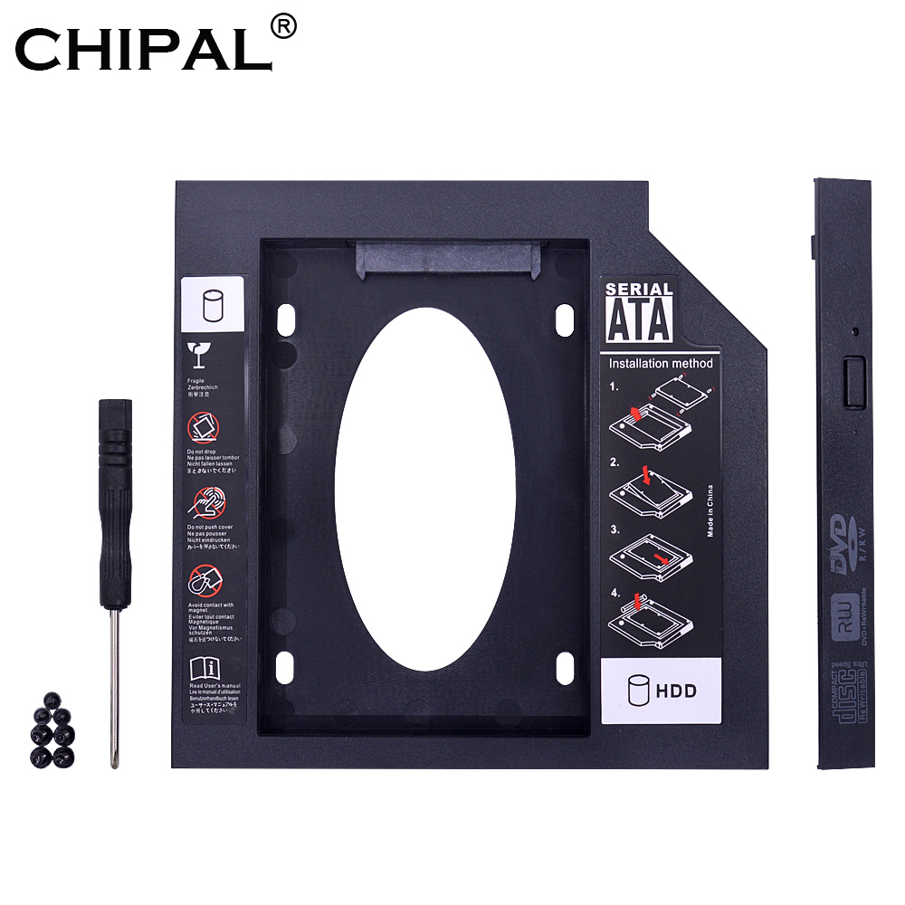 CHIPAL Universal 2nd HDD Caddy 9.5mm SATA 3.0 for 2.5'' 9mm 7mm SSD Hard Disk Drive Case Enclosure For Laptop CD DVD ROM Optibay(China)