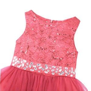 Image 4 - Tiaobug ילדים ילדה פרח שמלות ילדים תחרות ערב שמלות נצנצים תחרה רשת כדור שמלות חתונה ראשית הקודש שמלות