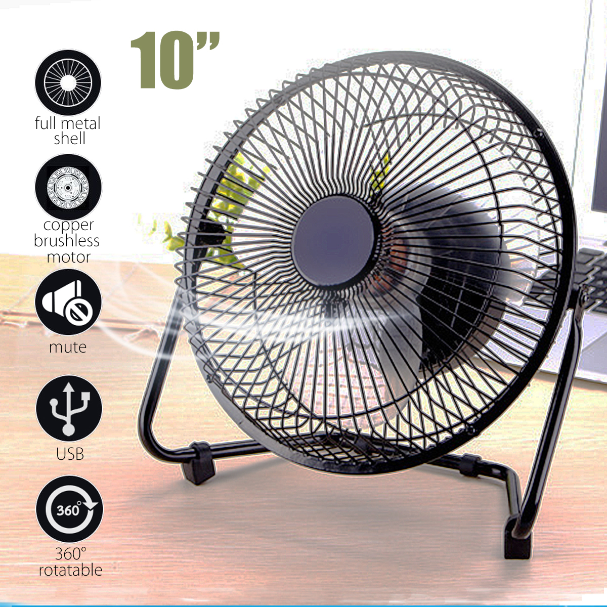 6/8/10inch New USB Gadgets Mini USB Fan For Laptop/PC Metal Electrical 360 Rotatable USB Fan Cooler Rechargeable Battery Desk цена