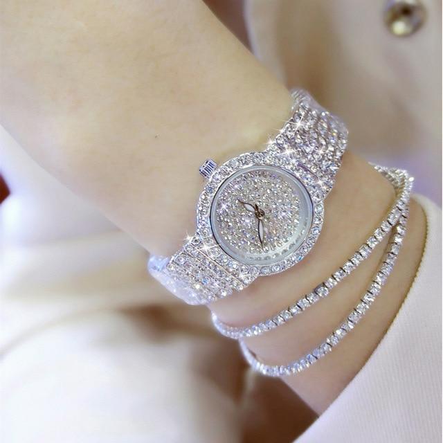 Free Silver Bracelet Watch Set Full Diamond Bangle Lady Luxury Dress Jewelry Charm Rhinestone