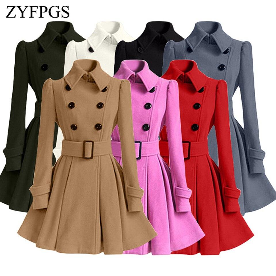 26e61d98015f ZYFPGS 2018 Winter Top Women s Winter Coat Woolen Coat Long Slim Fit Fashion  Design Double-