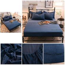 1 pcs Winter Warm Flannel Fleece Fitted Sheet Bed Solid Color bed sheets 150x200/180*200x25cm sabanas drap de lit Free Shipping