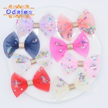 24Pcs Upscale Heart Sequin & Mesh Chiffon Bow Tie Patches Stick-on Applique for Headwear Crafts Lovely Hairpins Hair Accessories