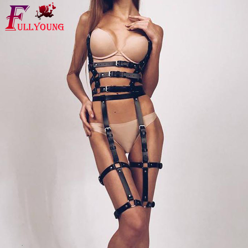 Fullyoung HARNESS 2Pcs Set Sexy Waist Leather Harness Garter Women Body Cage To Leg Bondage Chest Belt For
