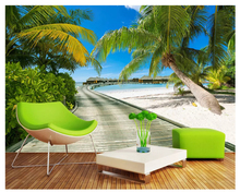 beibehang 2018 new fashion personality wallpaper sea view promenade green road 3d landscape background wall papers home decor