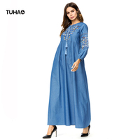 TUHAO 2018 Autumn Denim Dresses Female Loose Drawstring Collar Floral Embroidery Large Size Women's Long dress TA7303