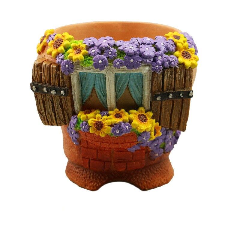 Creative Succulent Plant Flowerpot Fairytale Sunflower House Hand Painted Resin Flower Pot Desktop Ornament Garden Landscape