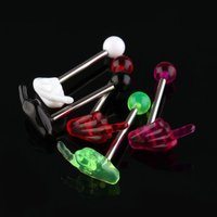 2pack (30 x Multi Colors Acrylic Hand Tongue Bar Ring Barbell Body Piercing