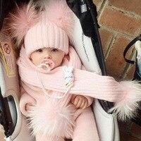 Fur Hat Scarf Set Girls Boys Autumn Thick Warm Baby Cute Children Pompon Cap Scarf Real Raccoon Fur Pompom Set Hat Scarf Kids