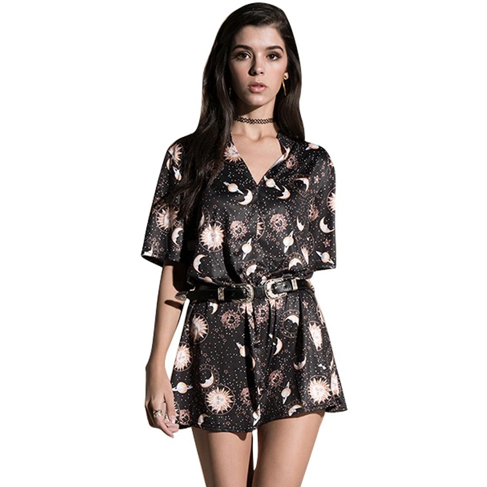 Anself Vintage Women Mini Loose Dress Short Sleeves Moon Planet Print Casual Straight T Shirt Dresses Black Satin Dress in Dresses from Women 39 s Clothing