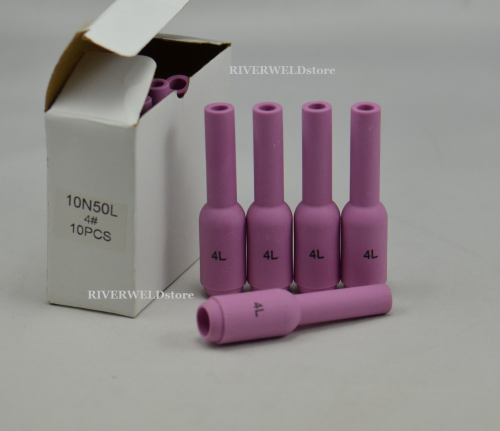 TIG Long Alumina Nozzle 10N50L #4L Ceramic Cup For TIG Welding Torch Consumables SR PTA DB WP 17 18 26 Series,5PK