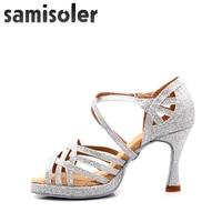 latin dance shoes woman Jazz Shoes Dance Ballroom Shoes Girls High Heels Glitter Salsa Dancing Shoes