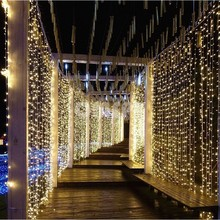 LED Curtain String Lights 4.5Mx3M 300leds 220v Xmas fairy light Outdoor Home For Wedding/Party/Curtain/Garden Decoration(China)