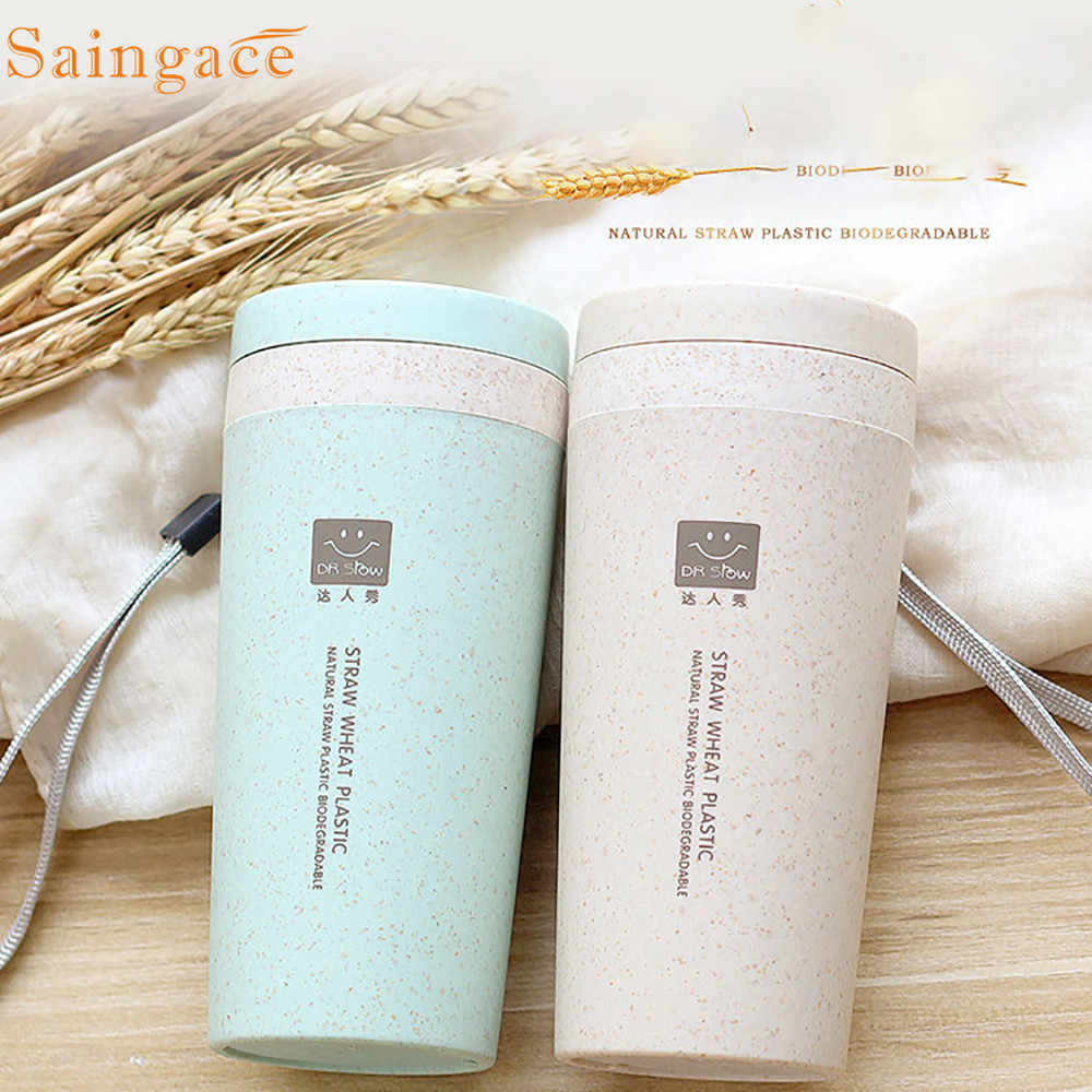 Saingace travel Thermos Cups Wheat Straw Double Insulated Flask Thermos Coffee Cup Mug Water Bottles Thermocup 2019 dropshipping