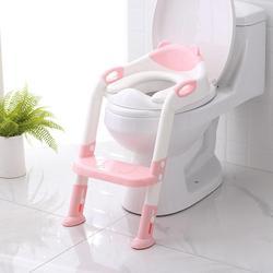 Asiento de entrenamiento plegable para bebés en el baño para niños con escalera ajustable, asientos de entrenamiento para orinal portátil para niños