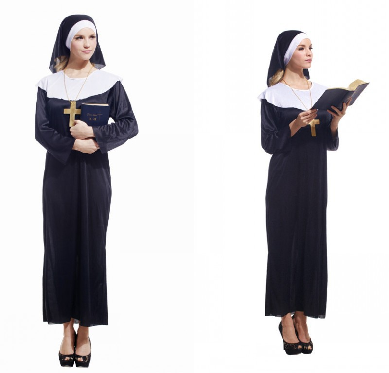 Adult Halloween costume party performance nun costume