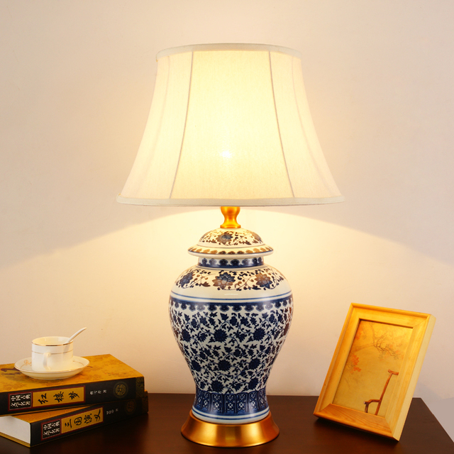 Chinese Antique Blue And White Ceramic Table Lamp Desk Lamps Porcelain Jingdezhen For Living