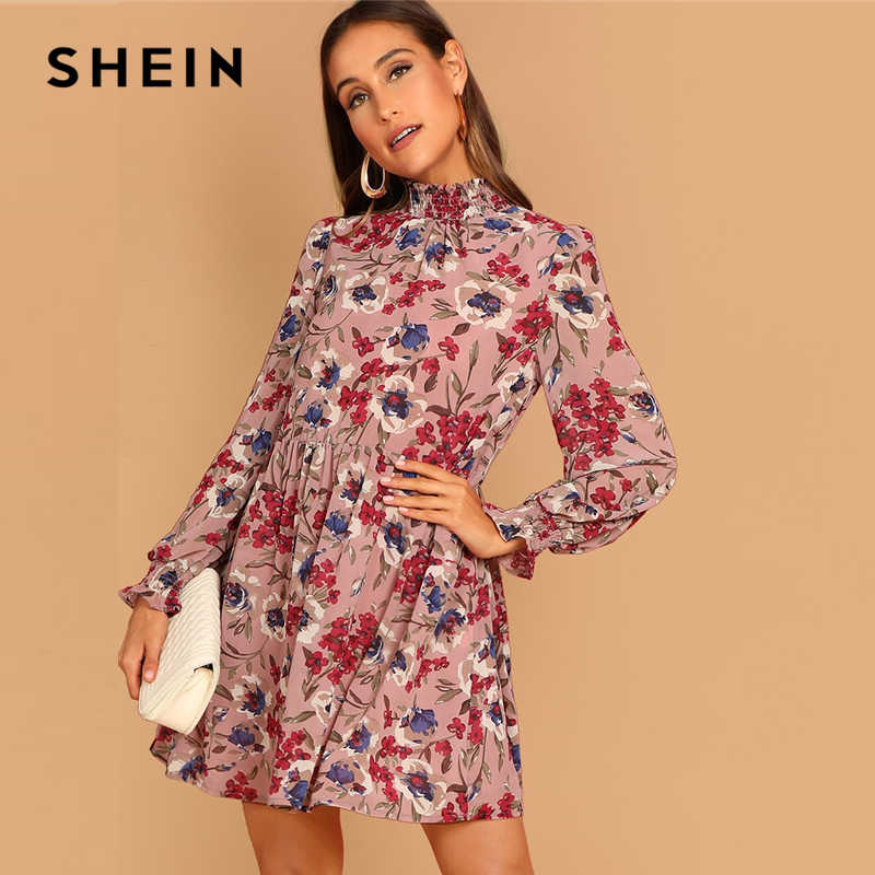 7bef3c6460 SHEIN Multicolor Allover Floral Print Shirred Panel Stand Collar Long Sleeve  A Line Short Dress Women