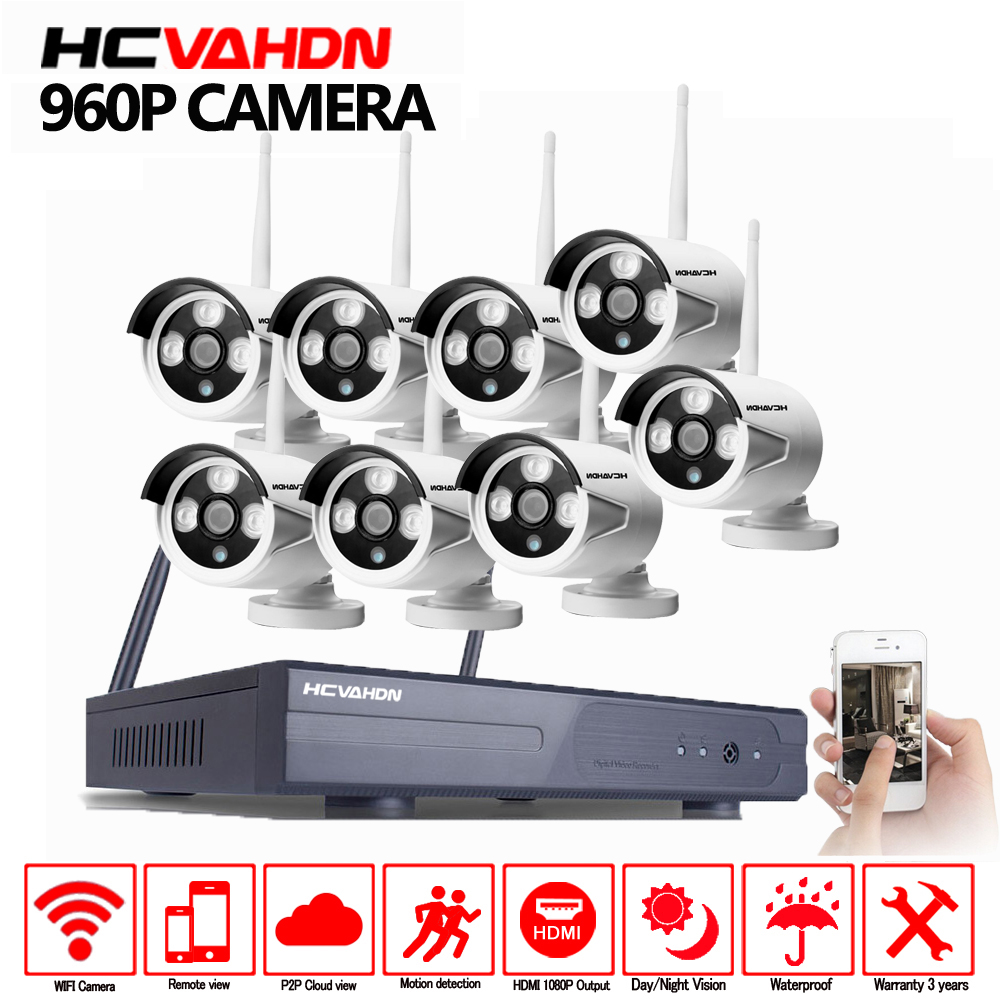 New Plug and Play Wireless Security System 8CH NVR Kit 960P HD Waterproof indoor Outdoor IP WIFI Surveillance Camera system