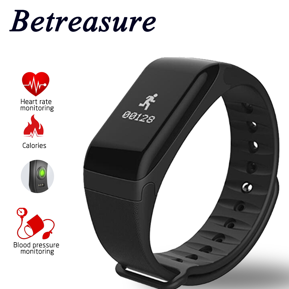 Betreasure Bluetooth Smart Wristband Blood Pressure/Heart Rate Monitor Smart Band Waterproof Fitness Bracelet PK Xiaomi Miband 2