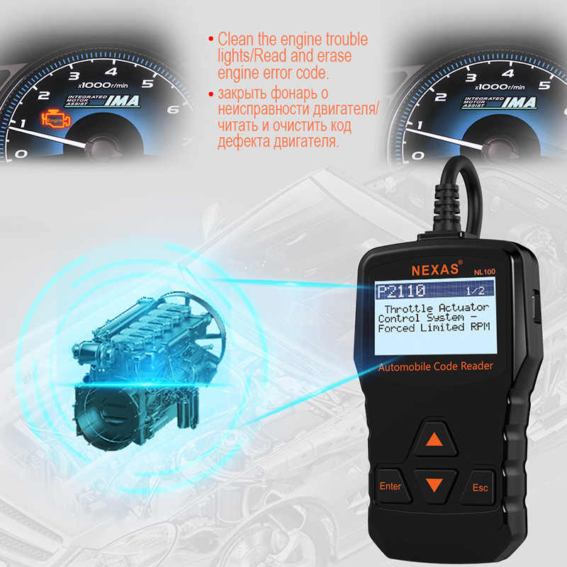 Nexas NL100 OBDII Car Diagnostic Tool Universal Automotive Scanner OBD 2  Auto OBD2 Code Read Scanner Car Diagnostic Auto Tool