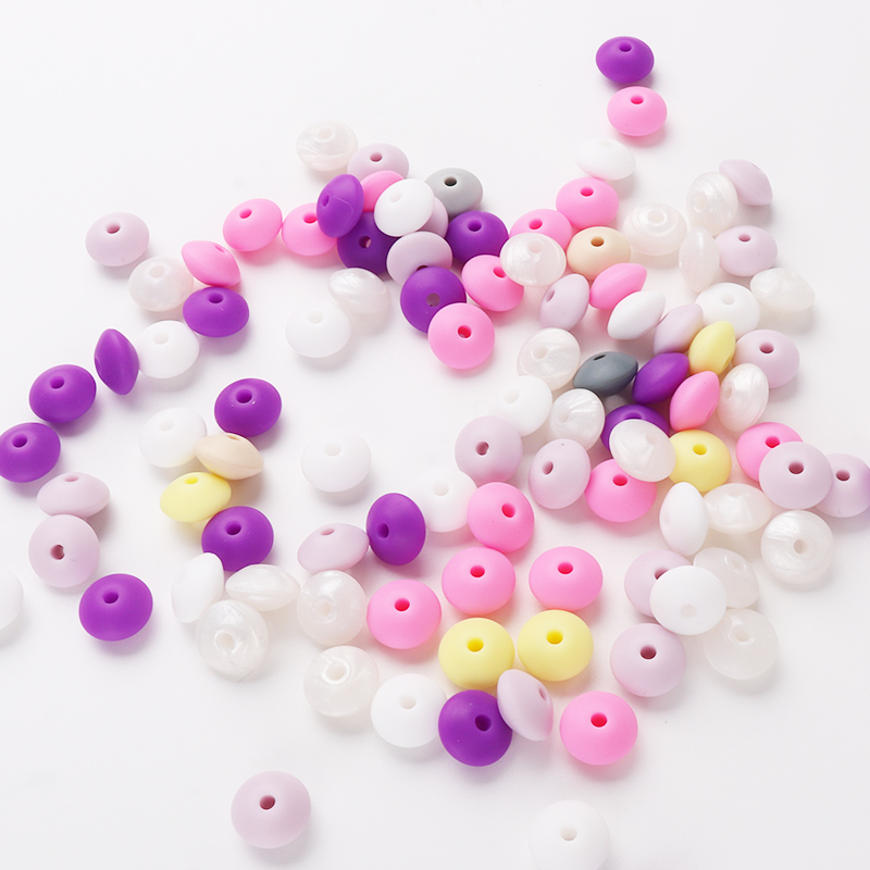 25pc/lot Silicone Beads 12mm DIY Baby Teether Lentils Personalized Pacifier Clips Baby Teething Accessories Food Silicone Bead
