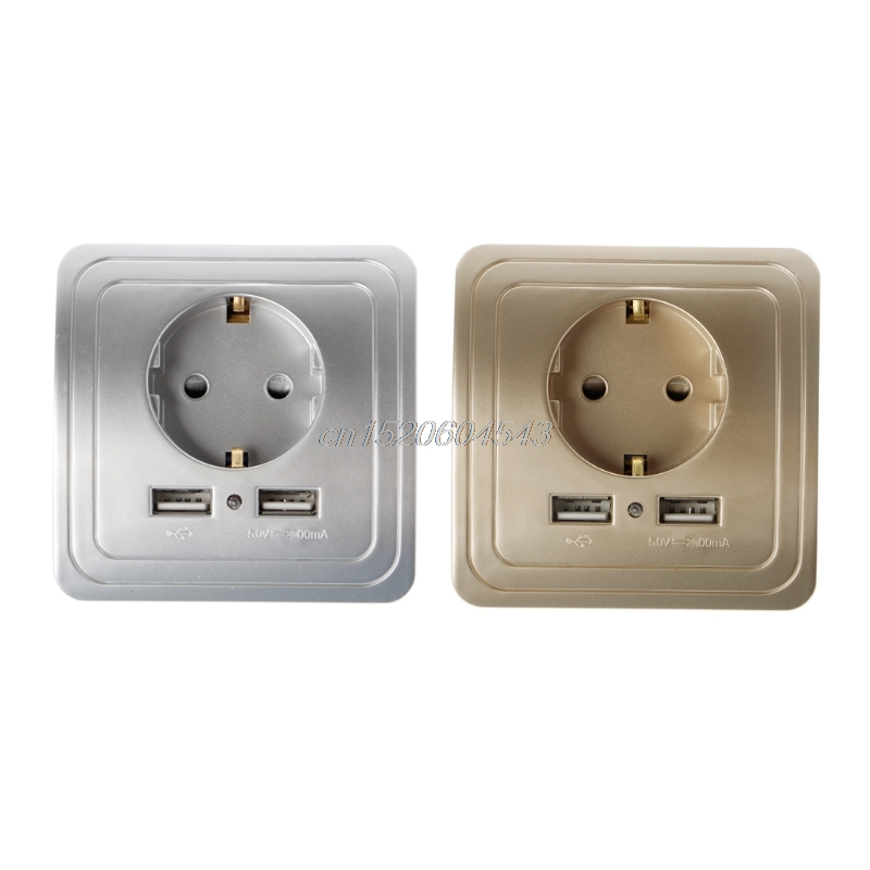 Silver/Gold 5V 2A Dual USB Wall Charger Adapter EU Plug Wall Socket LED 16A Power Outlet Panel With 2 USB Ports R06 Drop Ship 220v 10a wall switch socket 4 port usb charger power outlet adapter panel g07 drop ship