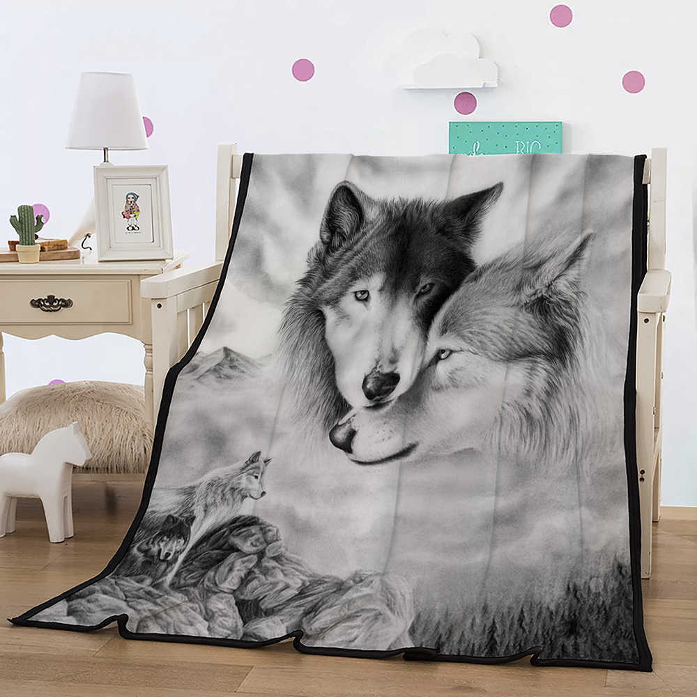 Lovers Blanket Teens 3D Digital Wolf Lovers Printed Black/Gray Fleece Blanket Black Sherpa Blanket for Kids Boys Girl 150x200cm