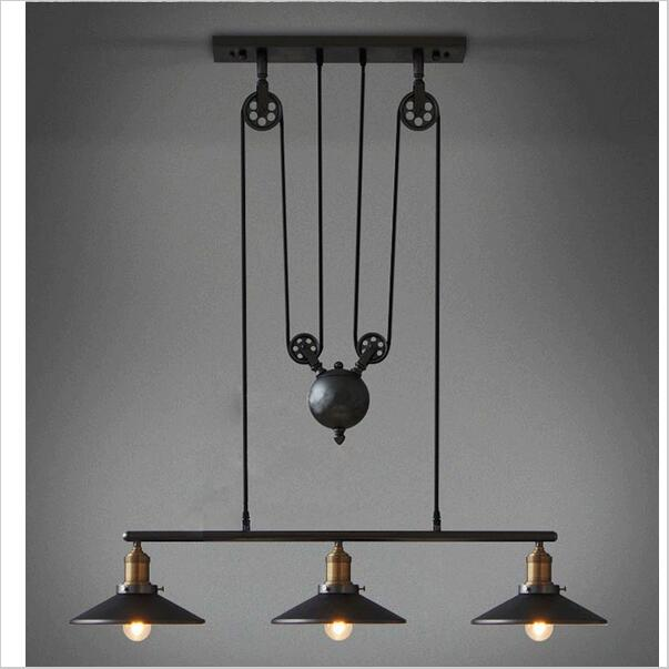 Vintage RH Loft Industrial American Country Lifting Pulley Pendant Lights Adjustable Wire Lamps Retractable Bar Decor Lighting single head vintage iron rh loft industrial led american country pulley pendant lampls adjustable wire retractable bar lighting