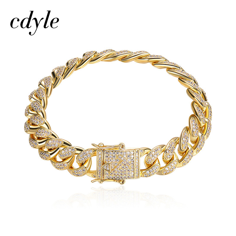 Cdyle Men Bracelet Cuban Chain Link Gold Color Iced Out Hip Hop Heavy Bracelets & Bangle Pulseira Feminina Fashion Jewelry 8 7 rose gold black color unique new cuban link chain design cool mens jewlery hiphop rock wide cuban link chain bracelet bangle