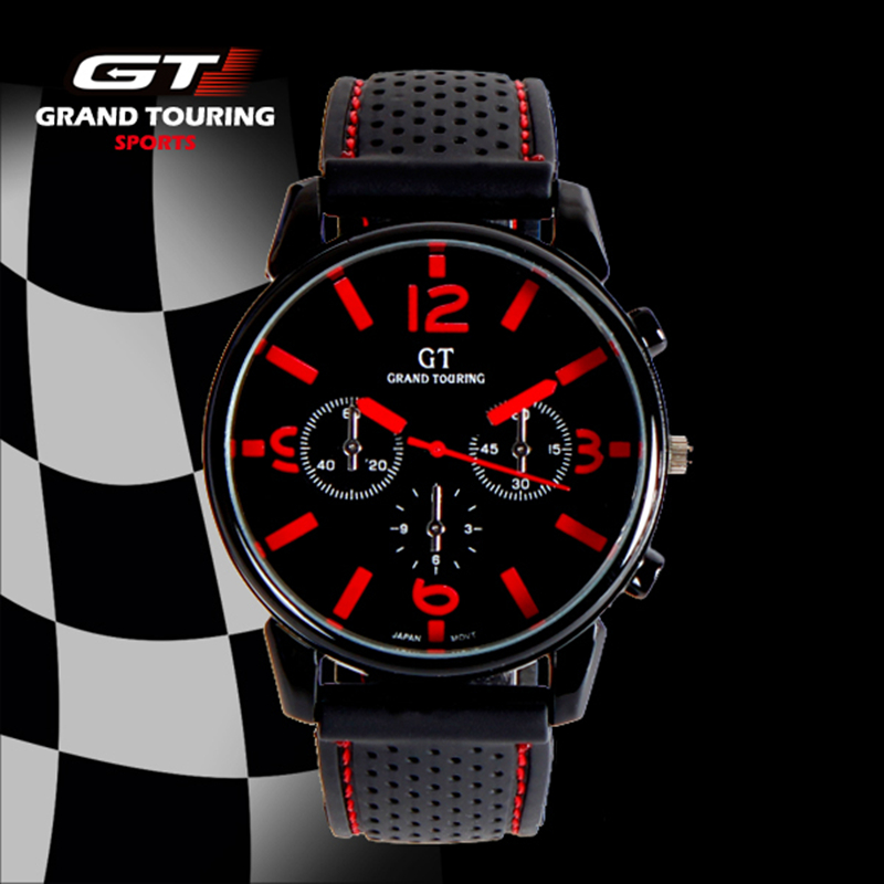 Fashion Grand Touring GT WATCH Men Silicone Strap Quartz Watch Car Racing Style Military Sports Outdoor Wristwatch 2016 New fashion gt watch men silicone strap quartz watch f1 race men s military sports outdoor unisex dress bracelet wristwatch 2016 new