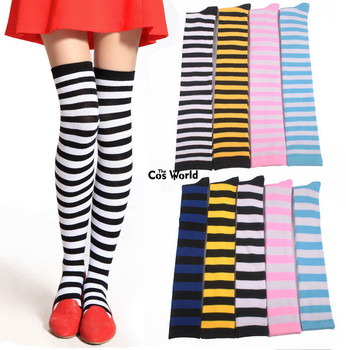White Thigh Highs With Bows Blue Fancy Dress Socks Stockings Alice Wonderland