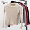 Зима теплая трикотажные свитера Вскользь уменьшают длинным рукавом тянуть femme Осень трикотаж короткие черный белый водолазка пуловер перемычка WS-173