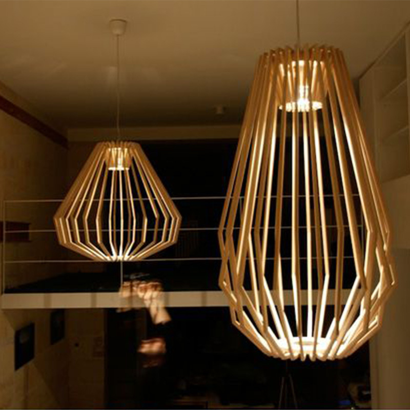 Minimalist Modern Art Wood Chandelier Diamond Restaurant Hotel Leisure Clubs Engineering Free Shipping In Pendant Lights From Lighting