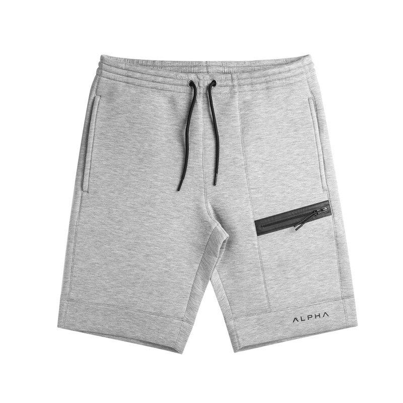 2018 Summer New Fashion Brand Men Gyms Shorts Zipper Patchwork Fitness Bodybuilding Short Pants Kneel Length Pants