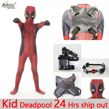 5pcs Kid Adult Deadpool Costume with Mask Superhero cosplay Suit Boy Man One Piece Full Bodysuit Halloween costumes for party