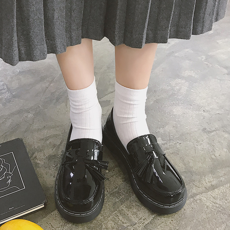 Lovely Student Lolita Shoes College Girl Fringe Shoes JK Uniform Shoes Round Head British Style PU Leather Shoes