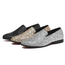 2018 Men Sequined Cloth Loafers Slip-on Men Flats Bling Bling Glitter Men  Wedding Shoes c7c66320645f