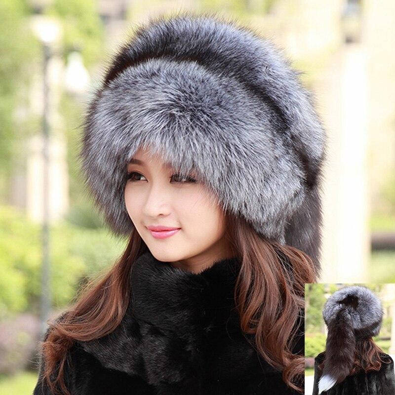 Мех животных Шарм 100% для женщин монгольский 2018 натуральный мех Silver Red Fox Hat с лисой хвост Леди Зимние теплые шапки мягкие волосатые кепки