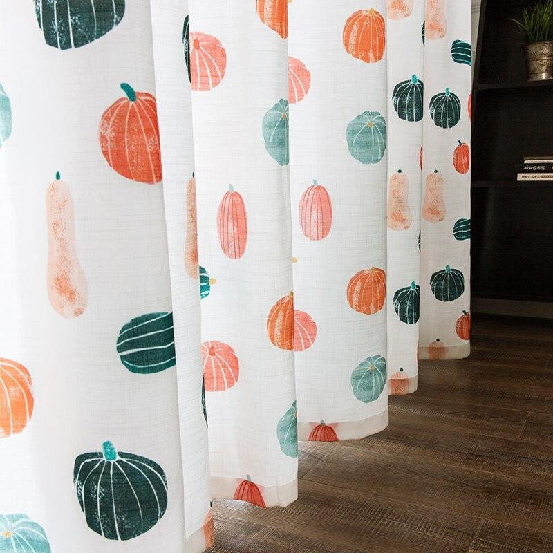 Custom gordijnen moderne Eenvoudige Nordic afdrukken kleurrijke pompoen katoen woonkamer slaapkamer venster doek verduisteringsgordijn M384