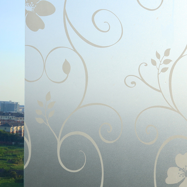 pvc 45x100cm patterns glass window film frosted glass sliding door bathroom window film opaque shade paste