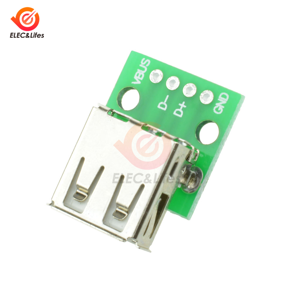 10Pcs Type A Female USB To DIP 2.54MM 4-Pin Pinboard PCB Board Adapter Converter For Arduino Connectors